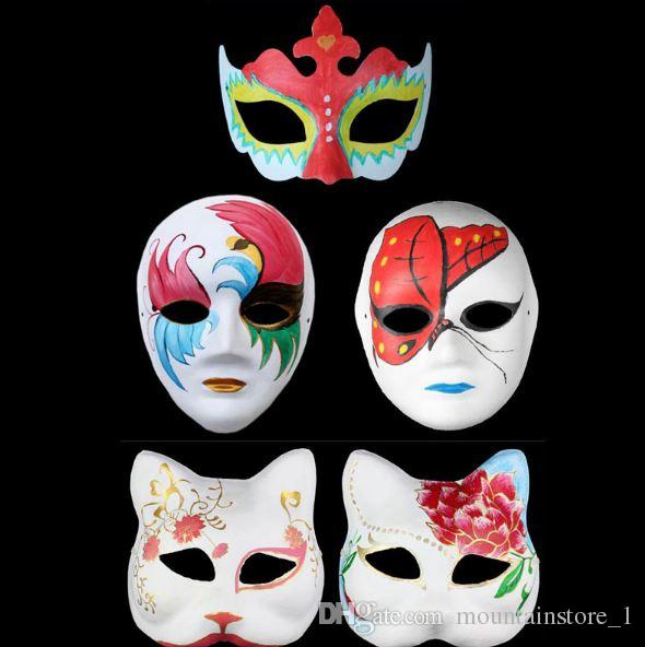 Blank White Masquerade Mask Women Men Dance Cosplay Costume Party DIY Mask Halloween Christmas