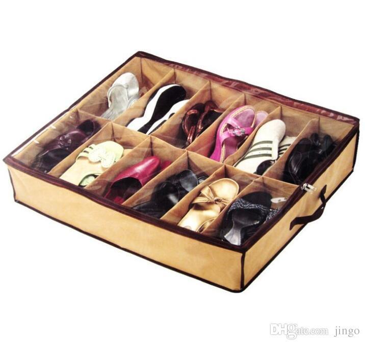 Bez Kumaş Ayakkabı Depolama Organizatör Tutucu Ayakkabı Organizatör Kutuları Dolap 67 * 56 * 15 cm Ev Için Kullanabilir Hottel nt