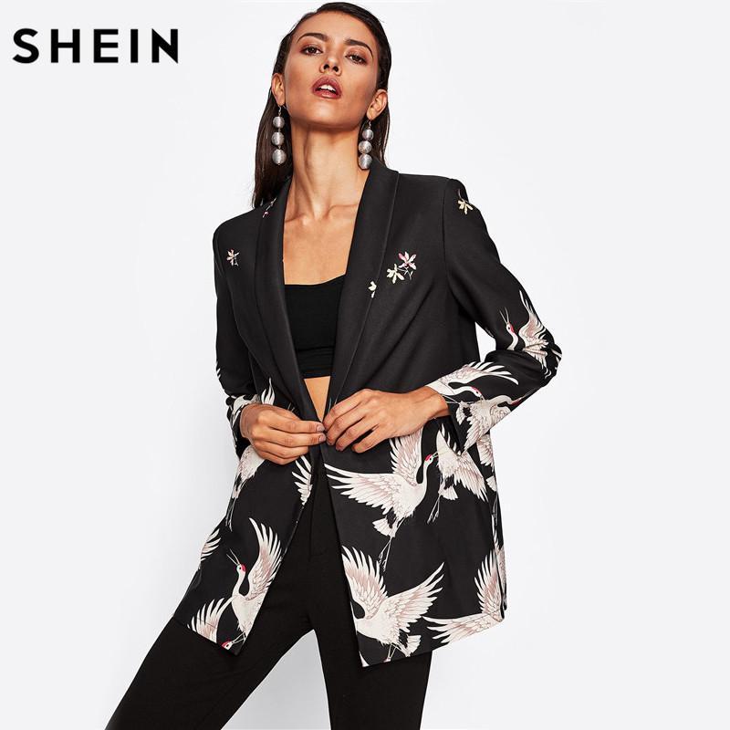 20e62f5e220 2019 SHEIN Crane Bird Print Longline Boxy Blazer Woman Autumn Blazer Black  Shawl Collar Single Button Boyfriend From Honjiao, $34.94   DHgate.Com