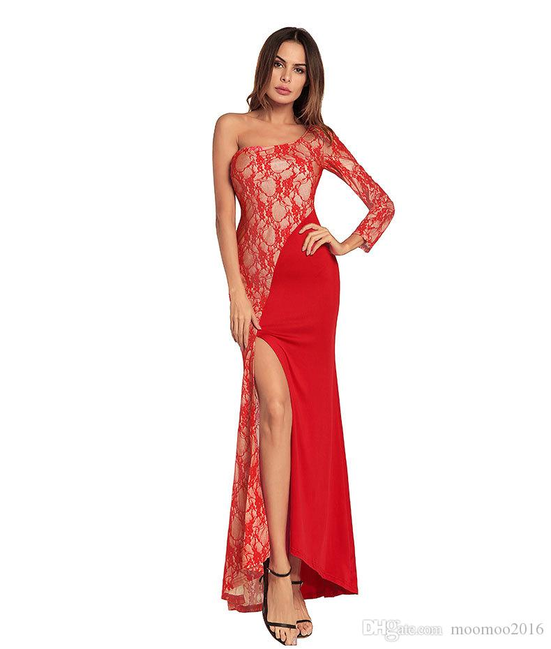 2018 New fashion Party Dress Women One-Shoulder Sexy Elegant Lace Designer Slim Summer Dresses Vestidos Red Blue