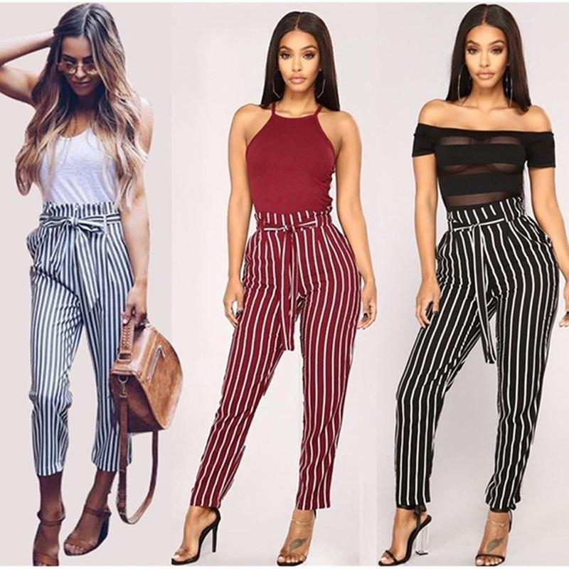 abf54c502df 2019 Vertical Striped Pencli Pants Plus Size Women Elastic High Waist OL Trousers  Casual Bow Tie Drawstring Pants With Pocket From Jamie06