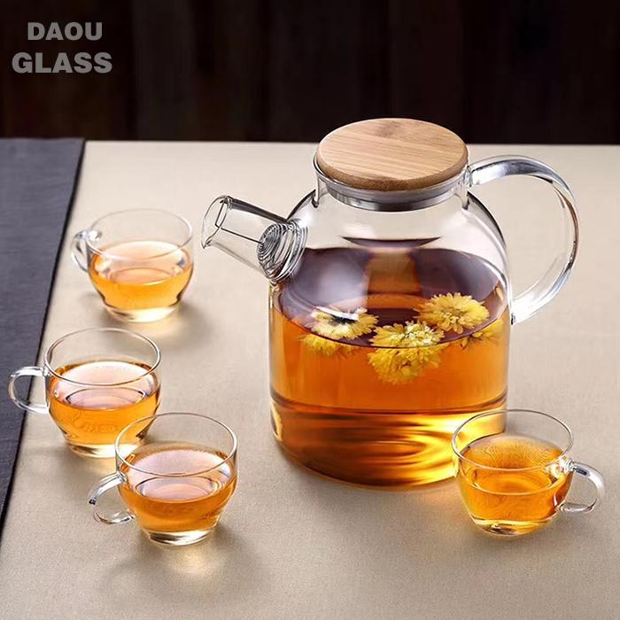 heat resistant pyrex glass tea pot and kettle set with Bamboo lid and spring strainer ,Blooming flower tea special teapot, chinese supplier
