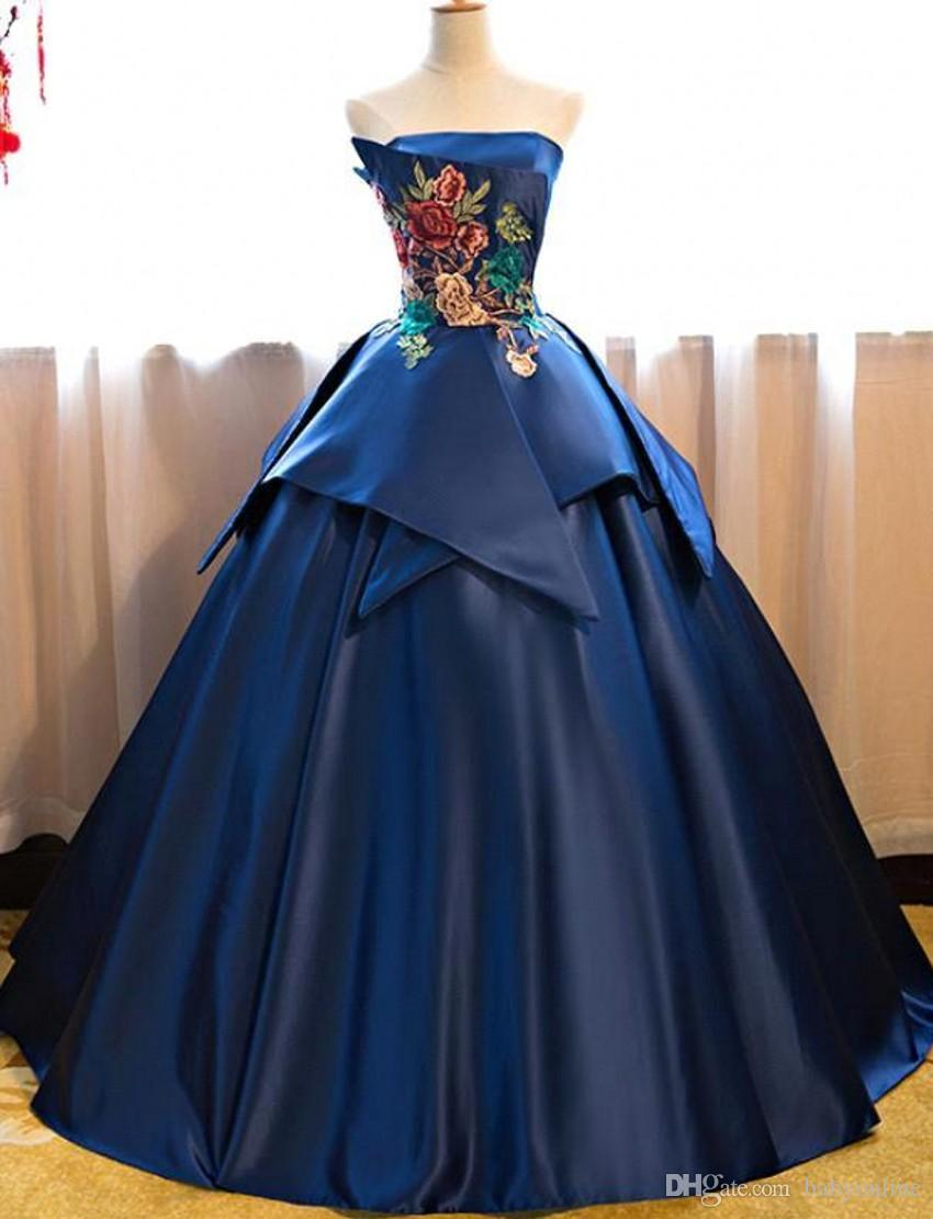 195ef863505 Elegant Royal Blue Satin Quinceanera Dresses Beautiful Flora Embroidery  Ball Gown Strapless Peplum Formal Prom Evening Gowns BC0149 Quinceanera  Dress Prices ...