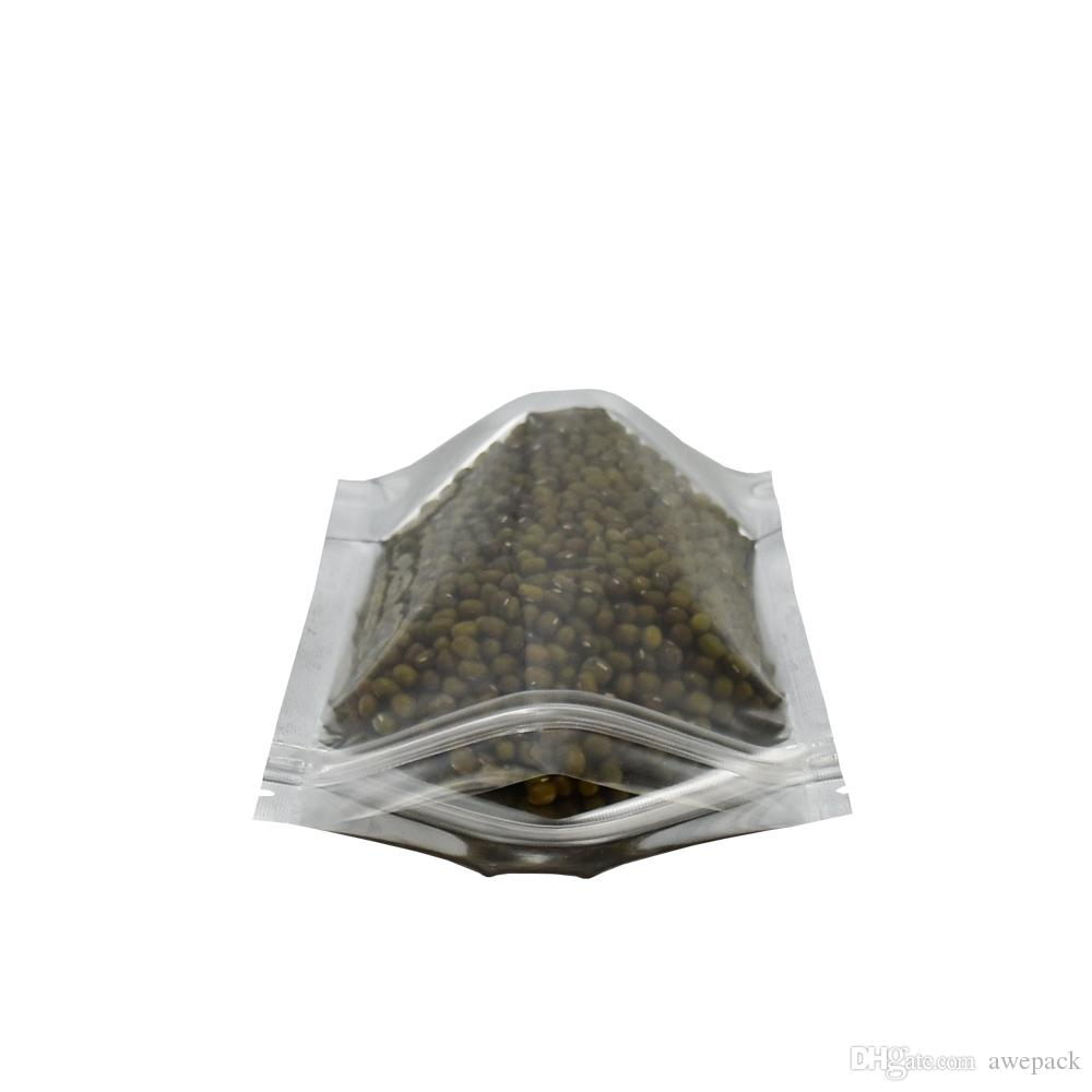 10 * 15cm Argento foglio di alluminio / plastica trasparente Stand Up Zip Lock Pacchetto alimentare Borse Retail Doypack Calore sigillabile Mylar Cancella Poly Bag All'ingrosso