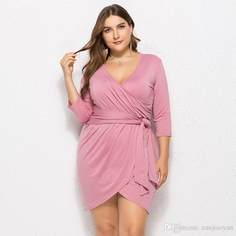 Wholesale Party Dresses Fat Ladies Plus Size Mini Dress Woman 2018 Winter  Autumn New Fashion Clothes Clothing