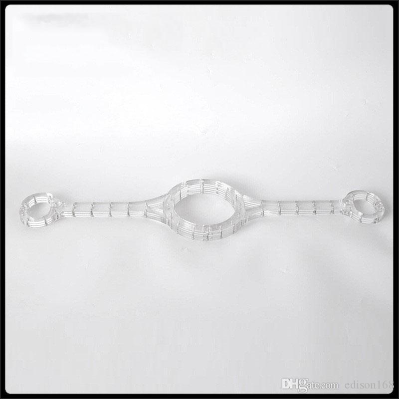 Luxo Crystal Clear Pelourinho canga em torno do pescoço Anel Oval algemas de pulso Restraint Slave Bondage Yoke Adultos BDSM Toy Sexo por Homem Mulher