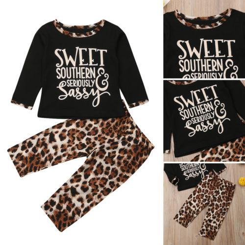 50f1b9a3 2019 New Leopard 2Pcs Set Toddler Baby Girls T-shirt+Leopard Legging Pant  Trousers Spring Autumn Chidlren Outfits Clothes