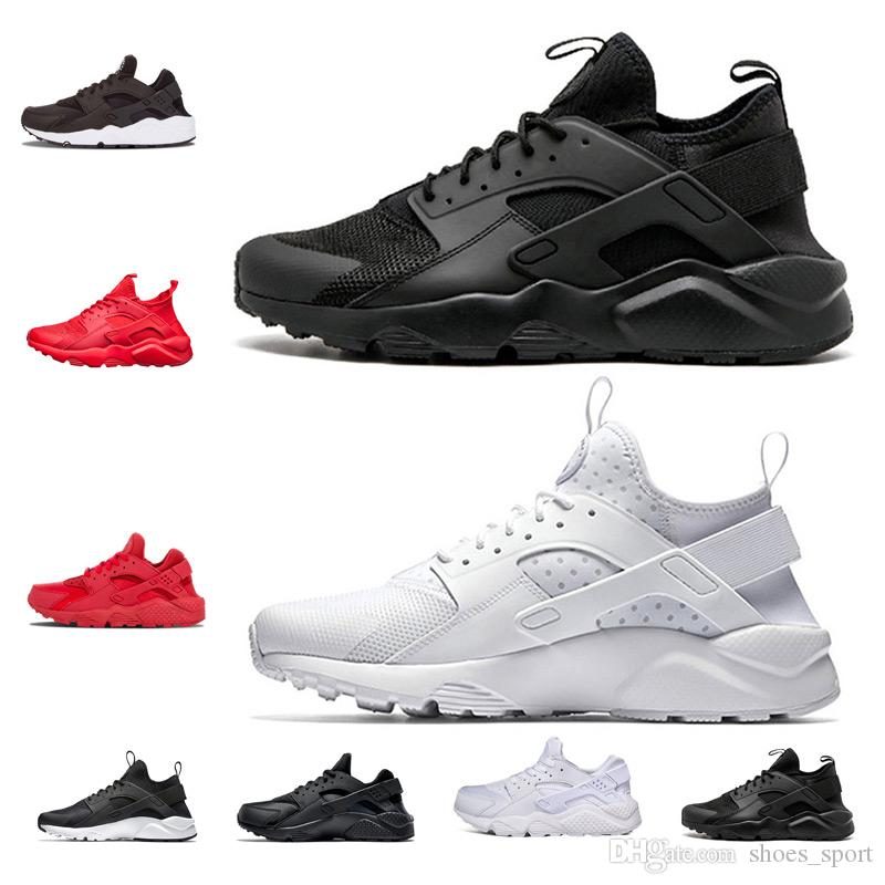 3ef2b35ba58e 2018 New Huarache 1.0 4.0 Triple Black White Shoes Men Women Sneakers  Running Shoes Sneaker Eur 36 45 Hot Sale Good Quality Womens Running  Trainers Shoes ...