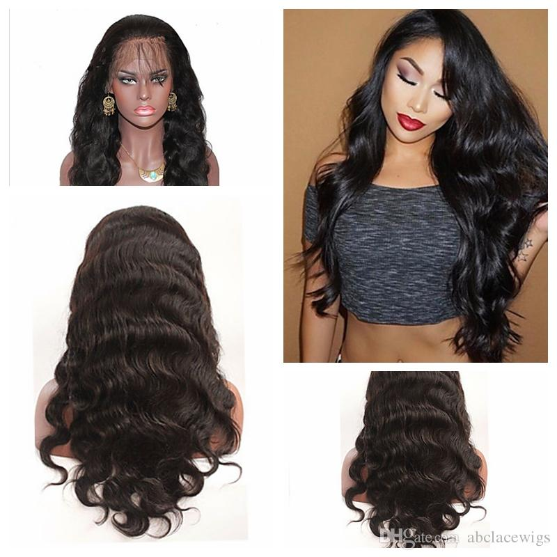 Top Sale Black Body Wave Long Wavy Wigs with Baby Hair High Quality Heat Resistant Glueless Synthetic Lace Front Wigs for Black Women