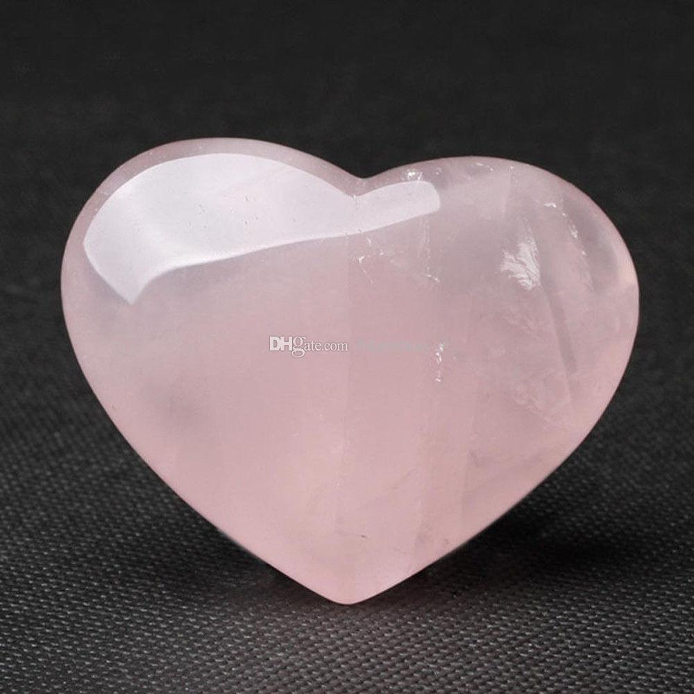 Doğal Gül Kuvars Kalp Palmiye Aşk Şifa Taş Lover gife Taş Kristal Kalp Taşlar Oyma Pembe Crystal Şeklinde