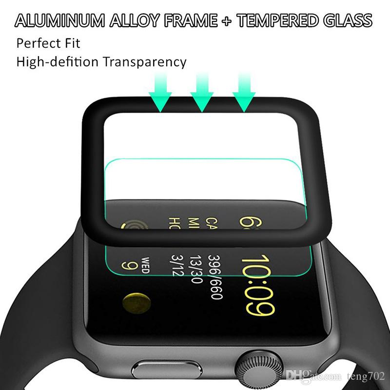 For Apple Watch Screen Protector 38mm 42mm Soft Carbon Fiber Frame ...