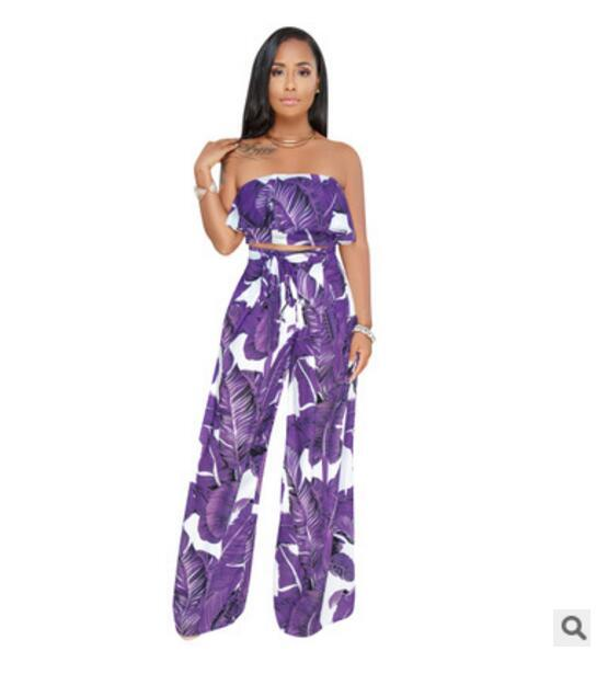 b88f2521e0e 2019 Two Piece Women Jumpsuit Floral Print Rompers Strapless Wide Leg Pants  Trousers Casual Summer Jumpsuits Sexy Party Club Overalls From Bida Amy