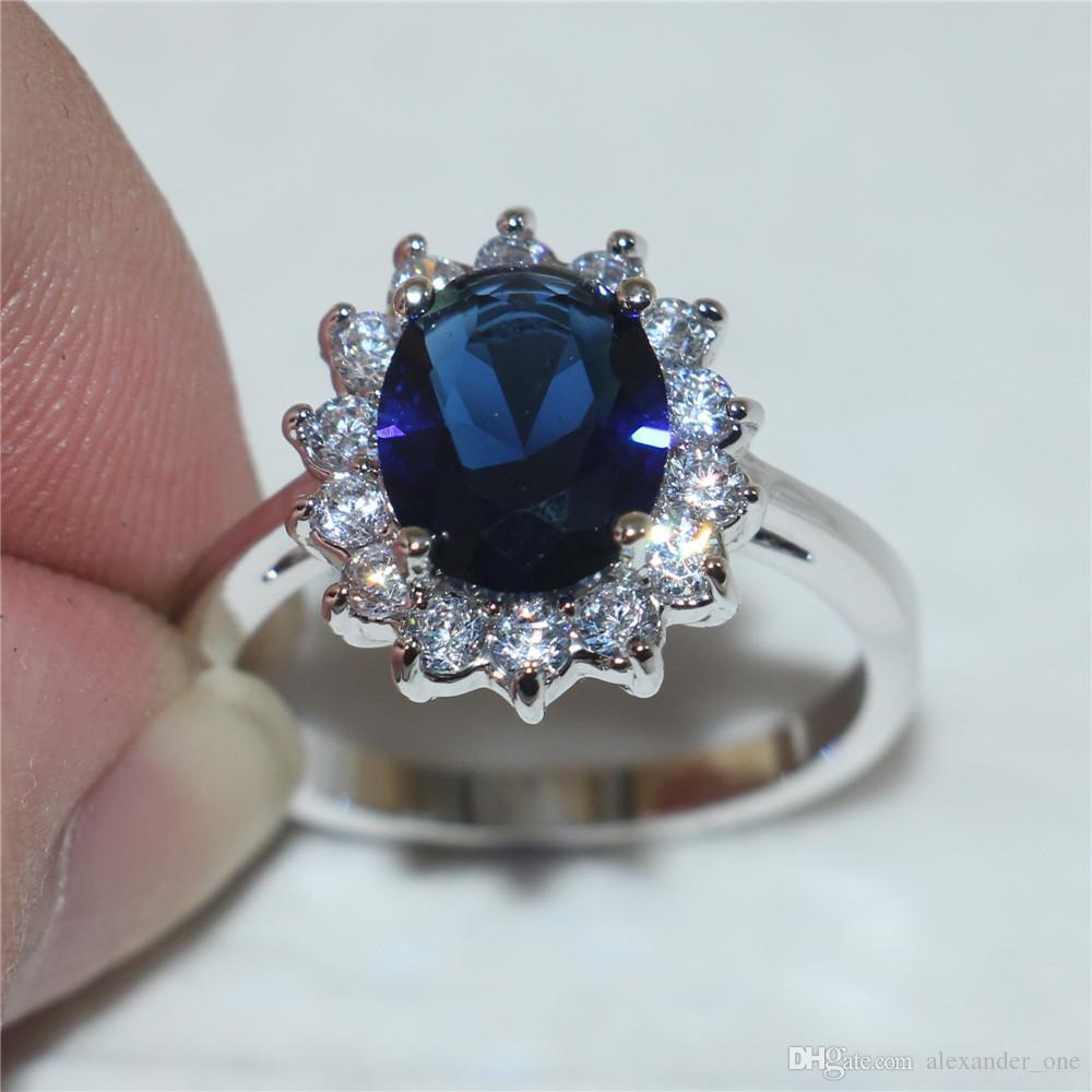 Aaaaajewelry Size 5/6/7/8/9/10 Princess 925 Silver Oval Blue Sapphire Gemstone Rings Gift for Women Girlfriend