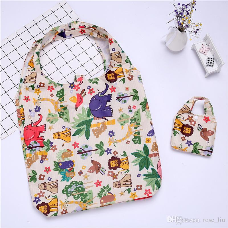New Fashion flower printing foldable green shopping bag Tote Folding pouch handbags Convenient Large-capacity storage bags B