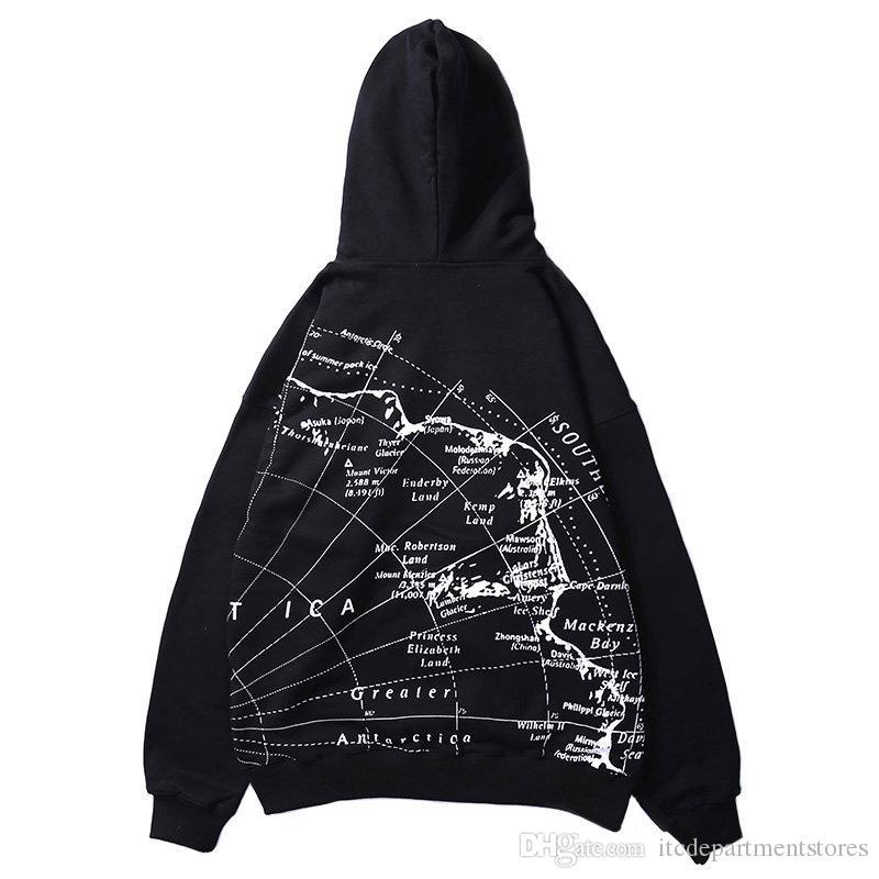 Mens Hoodie Sweatshirt World Map Print Hip Hop Hoodies Pullover