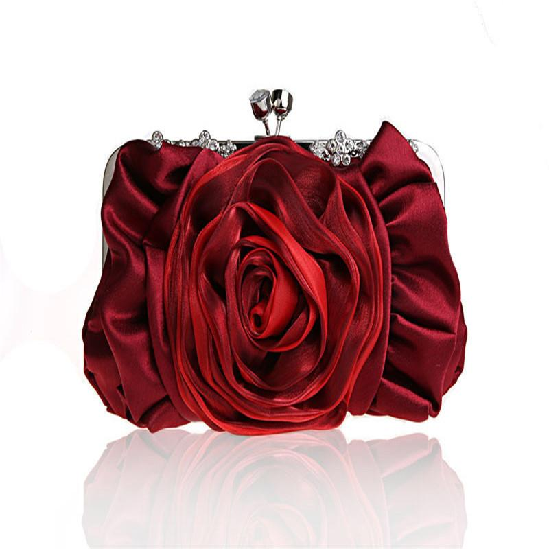 Hot Sale Women Evening Bag New Banquet 3D Big Flower Purse,Messenger Bags Bolsas Fashion wedding Elegent Silk Satin Clutch WY73