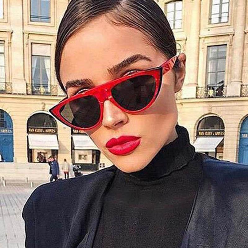 61dabe4005ef7 Vintage Cat Eye Sunglasses Women Small Frame Triangle Shades Retro Flat Top  Sun Glasses Brand Design Female Eyewear Oculo UV400 Prescription Sunglasses  ...