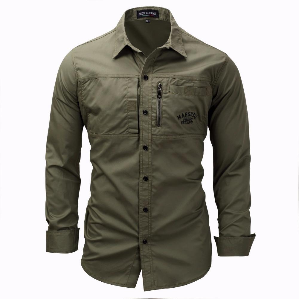a461d92100 Compre Camisa De Hombre Militar Para Hombre De Manga Larga Slim Fit Camisa  Masculina De Color Caqui Army Green Shirt Camisa De Alta Calidad Para Hombre  A ...