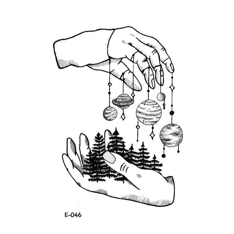 Grosshandel Wyuen Neue Design Hand Eco Planeten Fake Tattoo