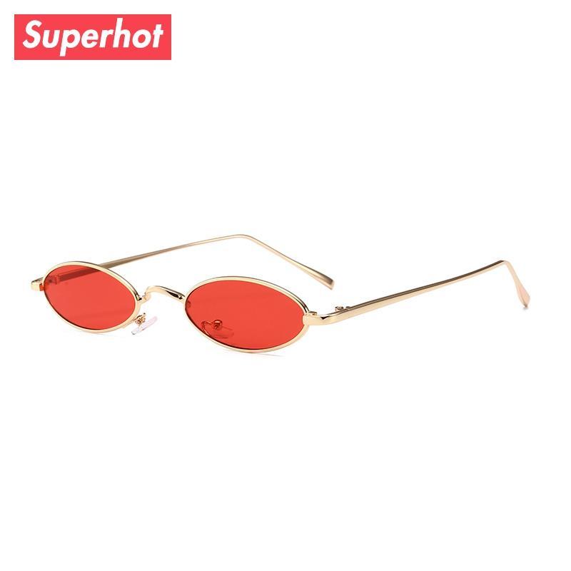 41338a13e3d02 Compre Superhot 2018 Novo Pequeno Oval Óculos De Sol Para Homens Masculino  Retro Armação De Metal Amarelo Vermelho Óculos De Sol Do Vintage Designer  De ...