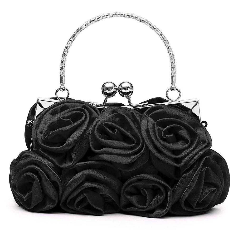 950f660eb25d Floral Ladies Clutch Bag Rose Clutch bags Women Hand made Luxury Evening  Bags for Party Wedding black Bolsa Feminina D18110106