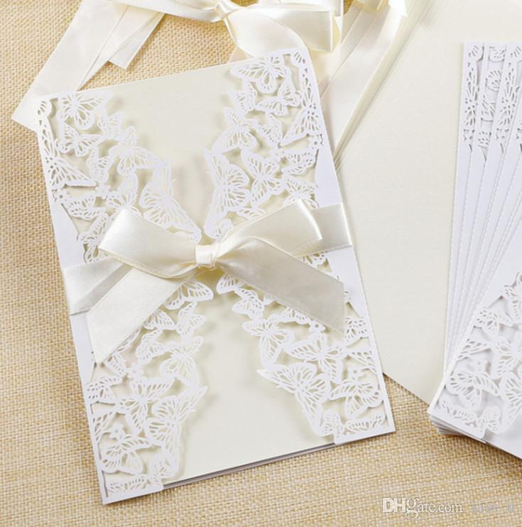 100Pcs Beige Gold Scroll Wedding Invitation Cards Personalized Party Card
