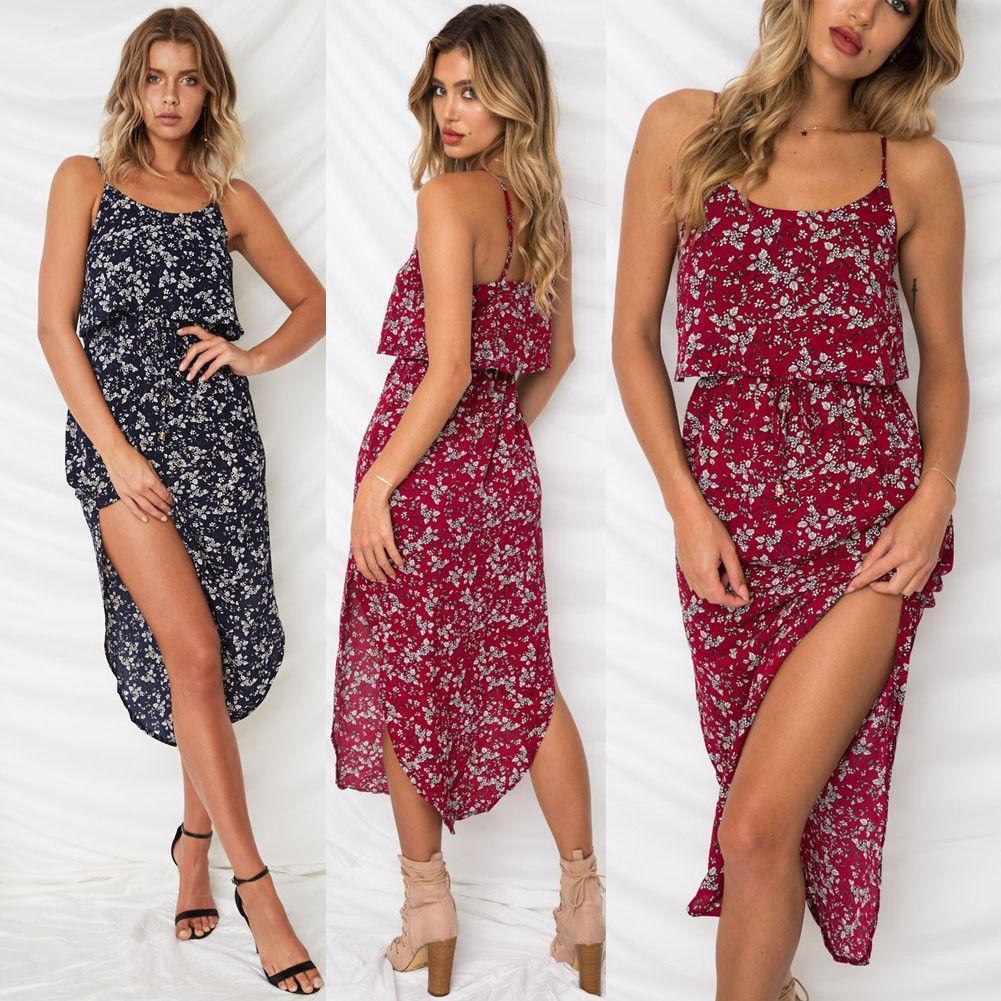 d02eaa51f81b Women Boho Long Maxi Dress Ladies Party Evening Summer Beach Sundress  Sleeveless Bohemian Beach Dress 2018 Summer Style Short White Dresses Dress  Styles ...