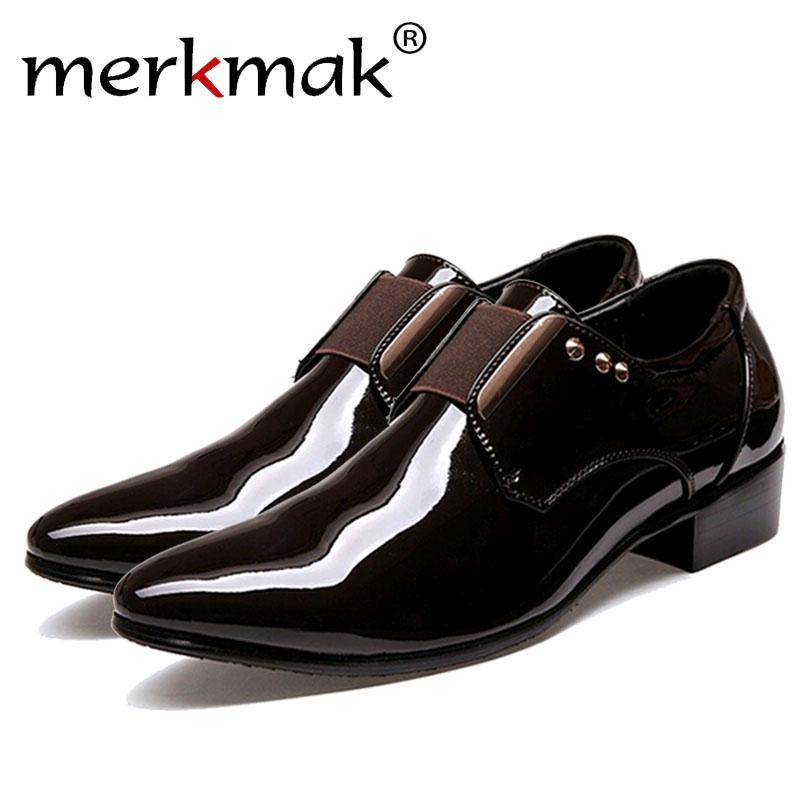 e9412c4bf Compre Merkmak 2017 Homens Italianos Vestido Sapatos De Couro Moda Formal  Negócios Glitter Pointed Top Deslizamento Em Confortáveis Sapatos Homem  Navio Da ...