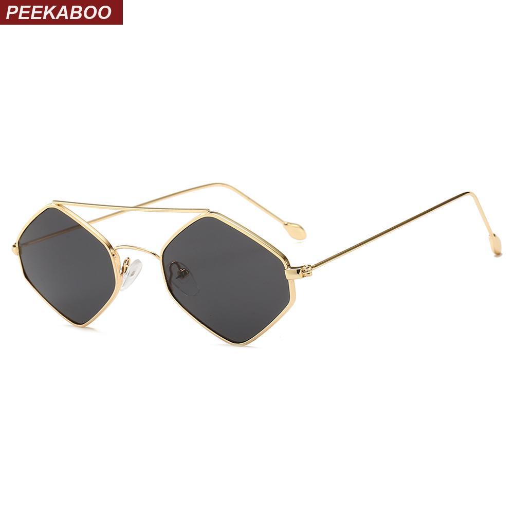 8633d75a3e Compre Peekaboo Rombo Gafas De Sol Mujer Tendencia 2019 Tapa Plana De Oro  Hombres Retro Pequeño Cuadrado Gafas De Sol Con Lente Clara Marco De Metal A  ...
