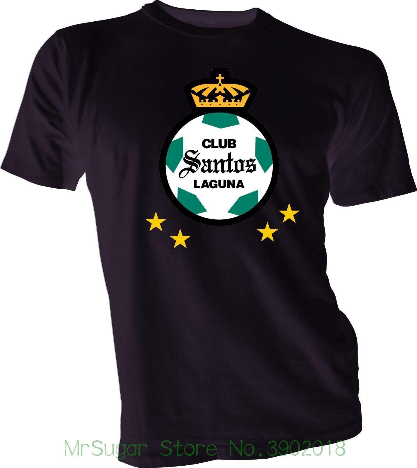 on sale d64a5 18850 Club Santos Laguna Los Guerreros Liga Mx Mexico Futbol Soccerite Black  T-shirt New Short-sleeved Print Letters