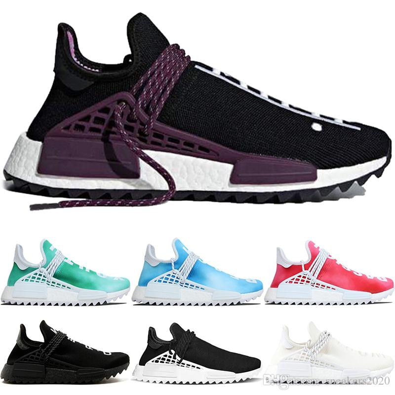 4a8a00694670c 2019 Human Race Trail Running Shoes Men Women Pharrell Williams HU Nerd  Black Cream White Equality Runner Sports Sneakers Size 5 12 From  Sneakers2020