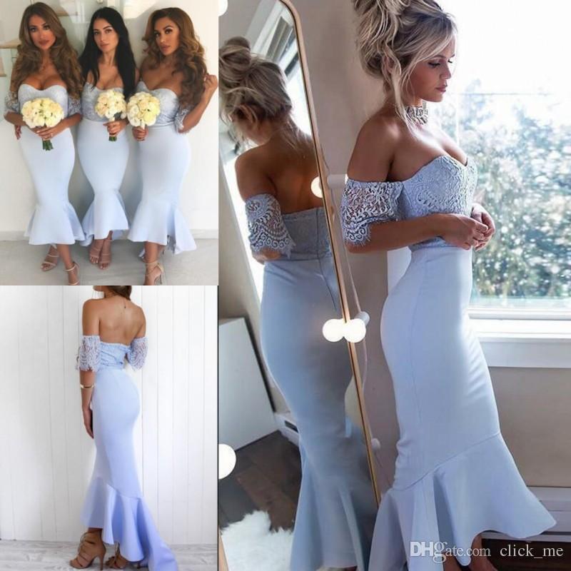da16f9d238 Baby Blue High Low Mermaid Bridesmaid Dresses Off Shoulder Lace Top Sexy  Maid Of Honor Dress Short Sleeves Cheap Bridesmaid Dress Vestidos Bridemaid  Dress ...
