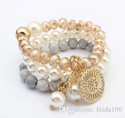 Bohemia sweet beads beads bracelet, European and American fashionable atmosphere disc bracelet, multi layer pearl Elastic Bracelet L638