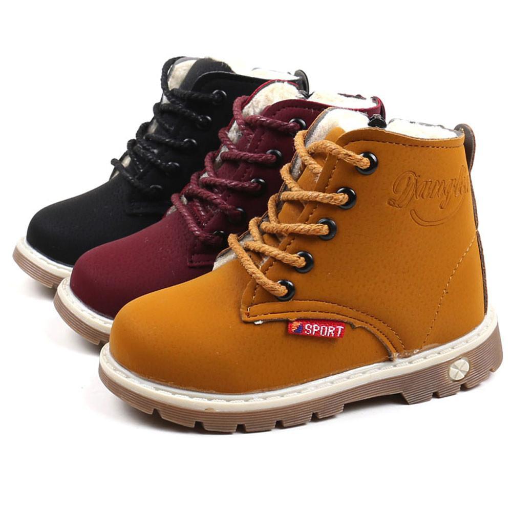 6eaa9e2b9eb41 Acheter Martin Sneaker Boots Enfants Bébé Zipper Chaussures Enfants Warm  Boys Bottes De Neige Pour Filles Mode De Caoutchouc Épaissir Les Chaussures  À ...