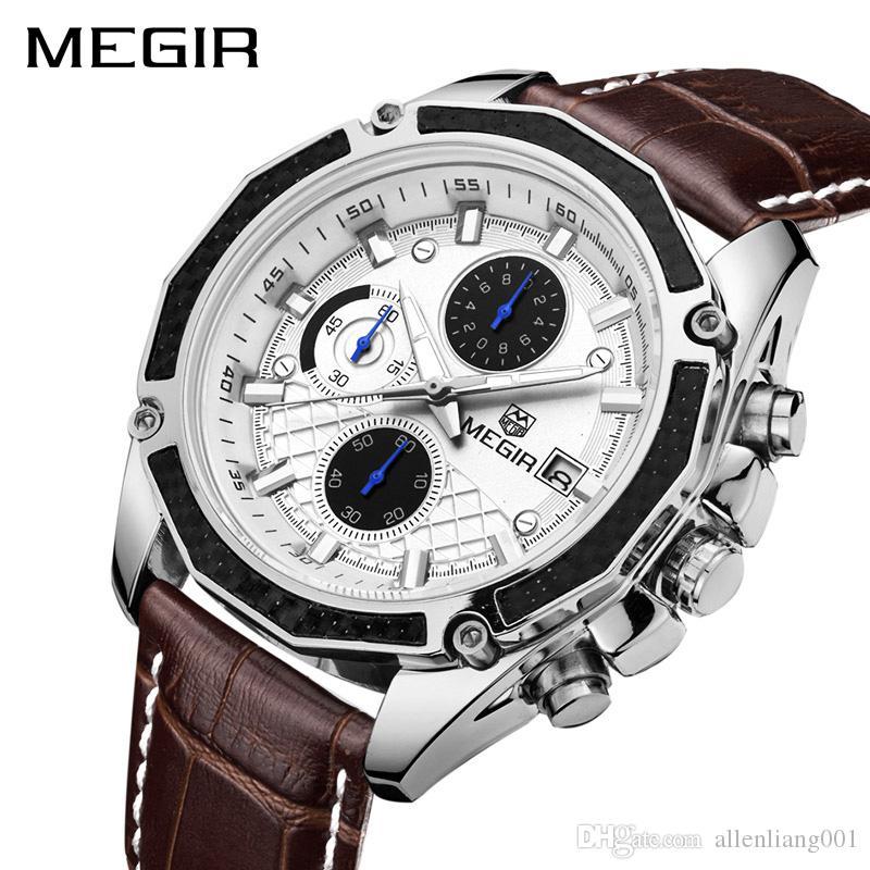 dc7ee8a2c4a8 Compre MEGIR Original Men Quartz Watch Reloj Hombre Leather Business Relojes  Hombre Reloj Cronografo Army Military Watch Sport Male 2020 A  32.6 Del ...