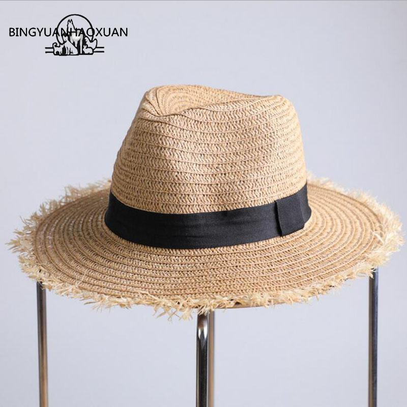 2a675bafb2e BINGYUANHAOXUAN 2018 Fashion Straw Hats For Women Summer Big Hand Woven Sun  Hat Wide Brim Beach Beach Sunglass Hat Feminino Bucket Hats Bucket Hat From  ...