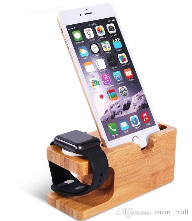 La più recente piattaforma di ricarica per Apple Watch Stand Station per Apple Watch per iPhone Supporto per telefono cellulare in legno di bambù LLFA