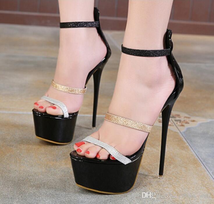 d3cc5295a1ca37 Fashion Sexy Peep Toe Summer Women Sandals Ultra Stiletto High Heel Woman  Pumps Platform Evening Party Shoes Black Sandals Ladies Sandals From  Emma wu2