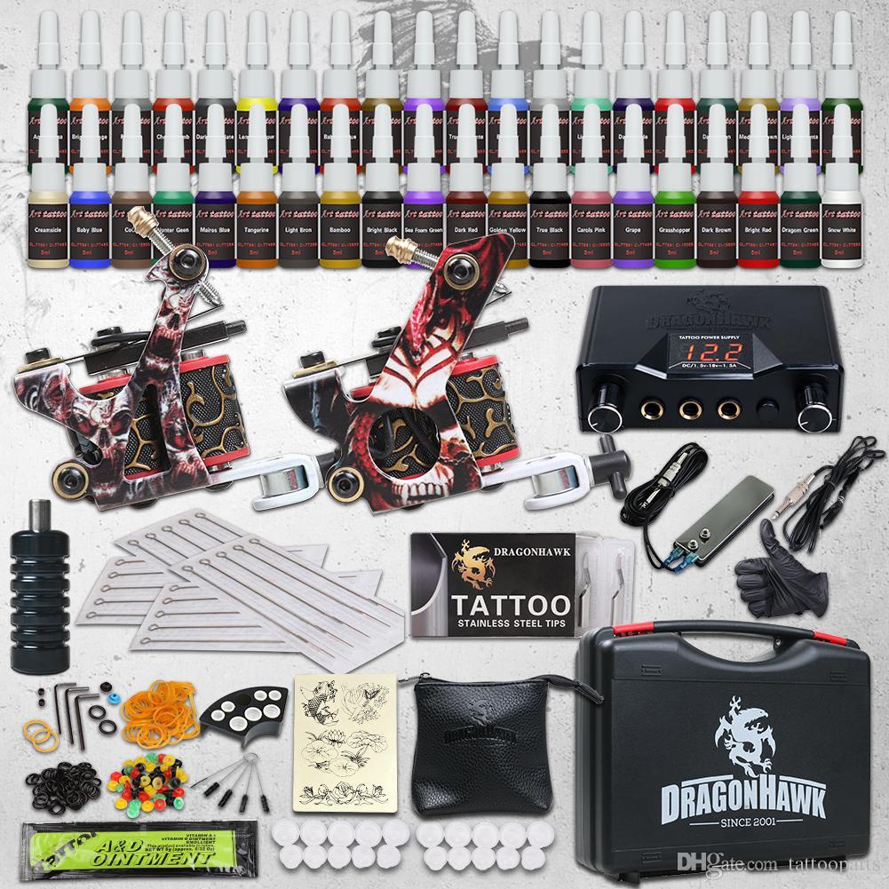 Beginner Tattoo Kit 2 Machine Guns 40 Inks Dual Power Supply Needles ...