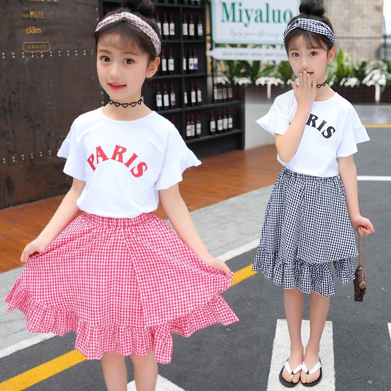 e08209d1f00 2019 Baby Girl Summer Clothes 2018 Kids Girls Clothes Set Two Pcs T Shirt +  Shirt 5 6 8 10 12 Year Girls Boutique Outfits From Gaozang