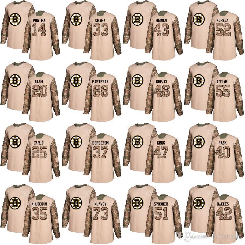 2019 Boston Bruins 2018 Camo Veterans Day Practice Jersey 37 Patrice 33  Zdeno Chara 88 David Pastrnak 73 Charlie McAvoy 40 Rask Jerseys From  Felixtrade facbf87c3