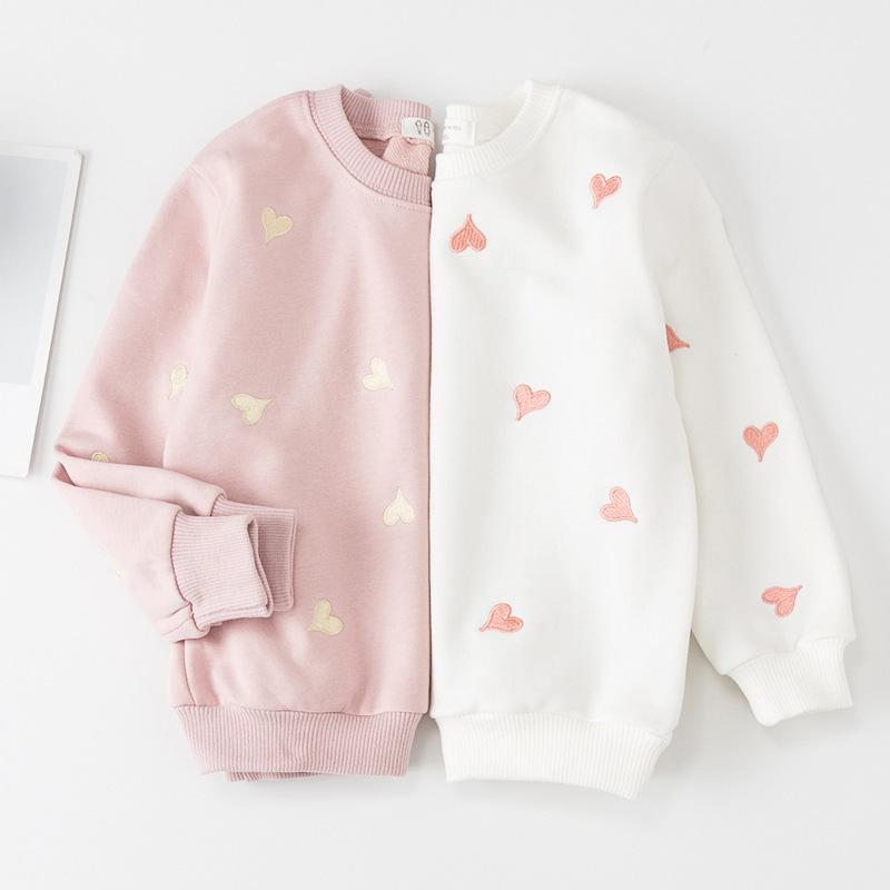 61f148fa2 Fall Baby Girls Pullover Cotton Hearts Shape Sweater Solid Color ...