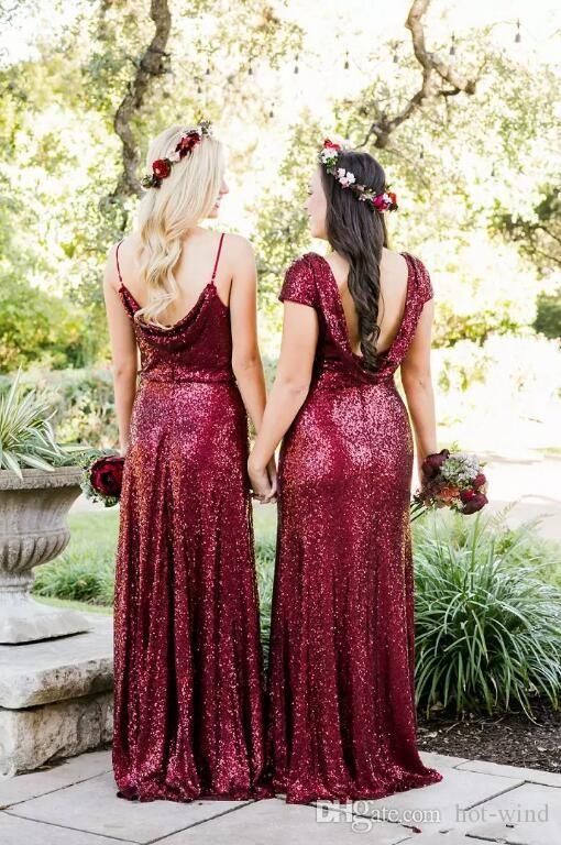 Gelinlik Modelleri 2020 Burgundy Sparkle payetli Uzun Hizmetçi Of Honor Modelleri Özel Yapımı Plaj Düğün Misafir Elbiseler Vintage Önlükler