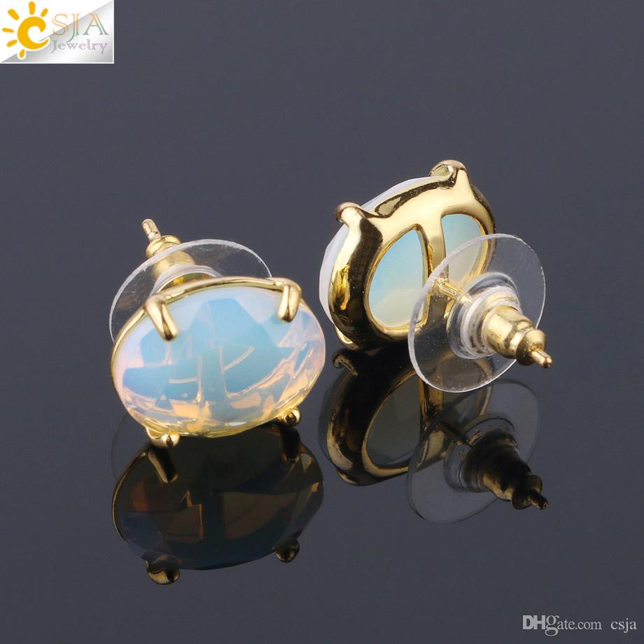 CSJA Fashion Gold Stud Earring Natural Oval Faceted Gemstone Bead Prong Setting Pierced Earrings for Girls Women Opal Jewelry Wholesale F694