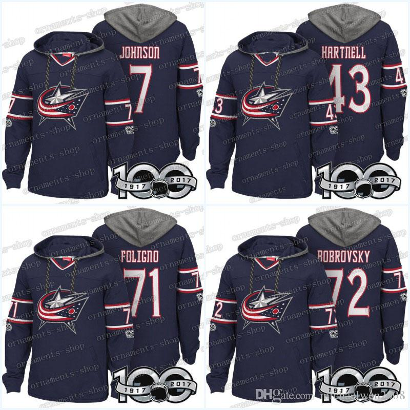 Homens 100th Columbus Blue Jaquetas Jerseys 20 Riley Nash 58 David Savard 72 Sergei Bobrovsky 71 Nick Foligno Hoodies Camisolas
