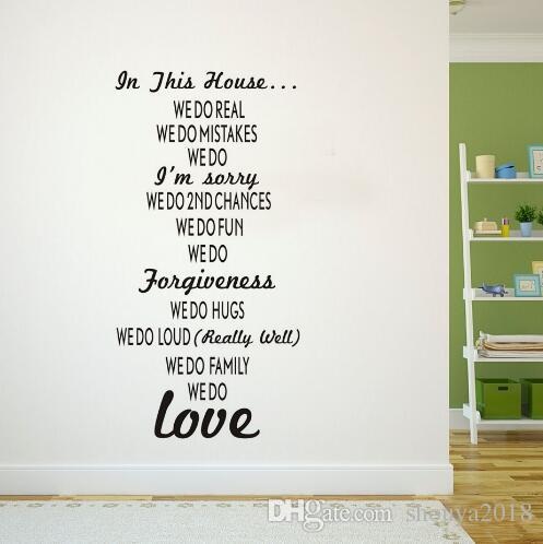 Envío libre de vinilo de bricolaje en esta casa pegatinas de pared Reglas de la casa texto palillo en la sala de estar papel pintado cartel de arte decoración de la habitación extraíble