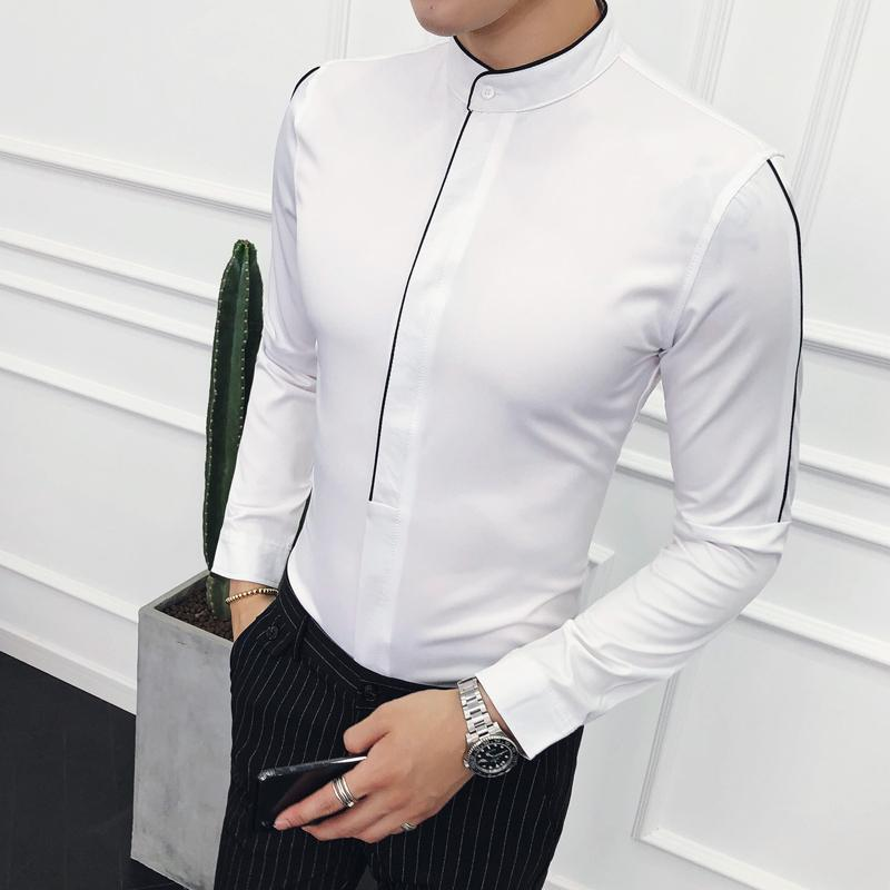Stand Collar Shirts Designs : Mandarin collar shirt for men contrast piping stand collar