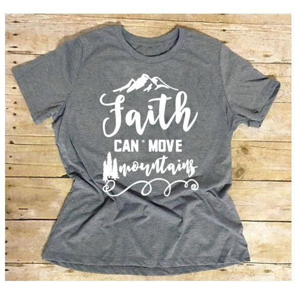 8ec20482c Compre T Das Mulheres Fé Pode Mover Montanhas Tumblr Hipster T Camisa  Casual Na Moda Slogan Tee Vintage Jesus Cristão Religião Camisetas Oversize  De ...