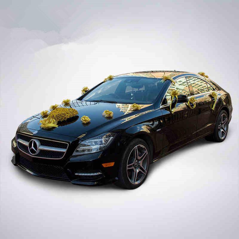 acheter gros or coeur rose + ruban bowknot fleur voiture décoration