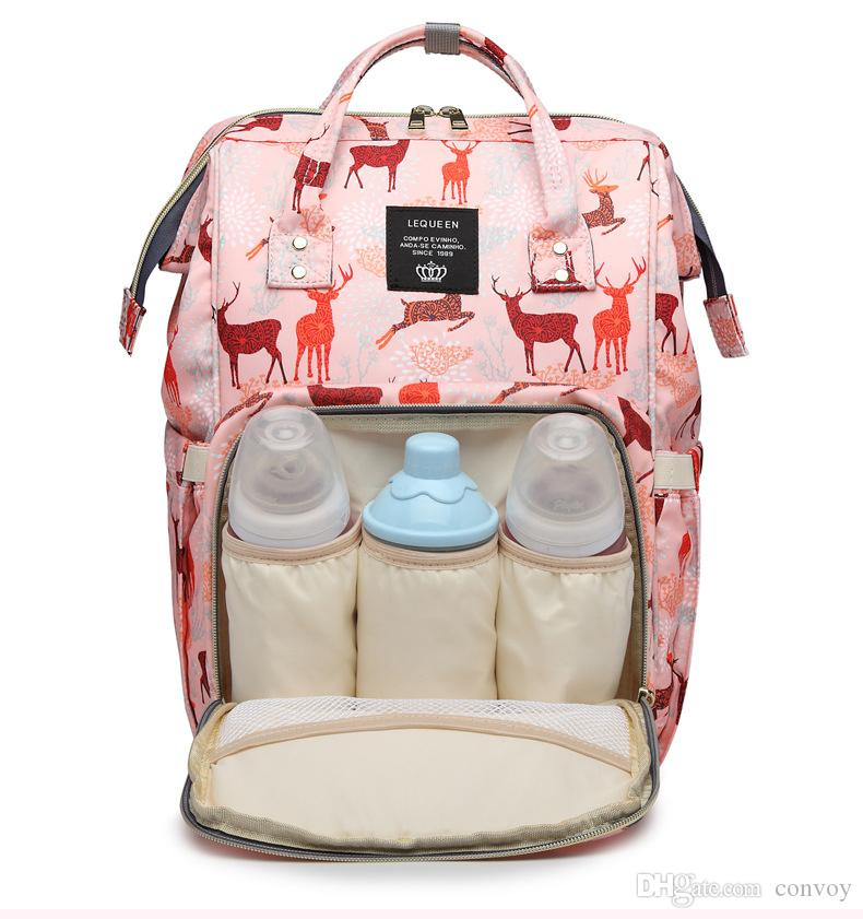 Lequeen Mummy Backpack Deer pattern Multifunctional Baby Diaper Backpack Mommy Changing Bags Nappy Mother Maternity Backpacks MPB57